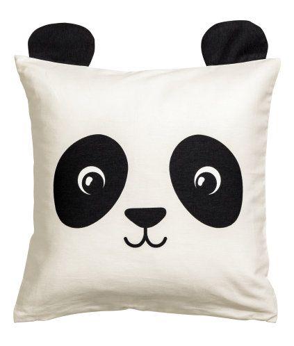 Weiß/Panda. Kissenhülle aus Baumwolltwill mit Motivdruck und ...