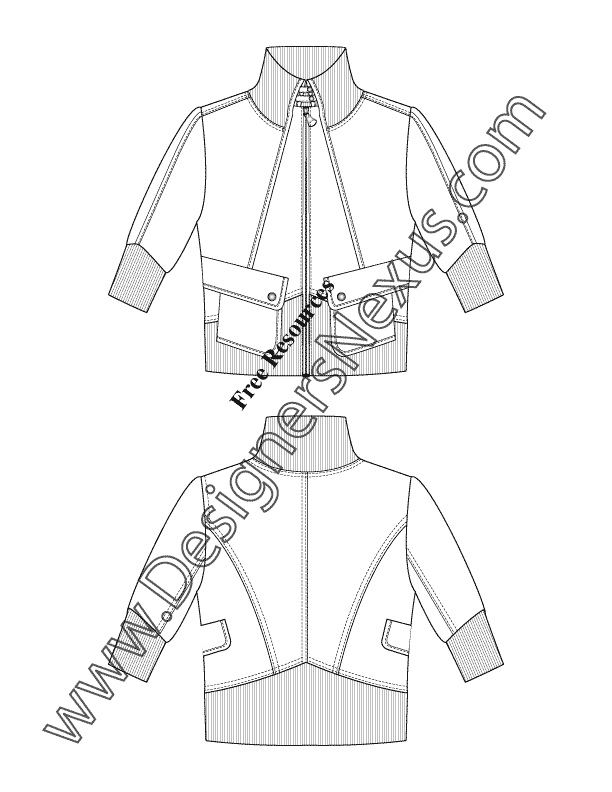 Illustrator Fashion Flat Sketch V9 Elbow Sleeve Sporty Jacket With Oblique Patch Pockets Designers Nex Fashion Inspiration Design Sporty Jacket Fashion Flats