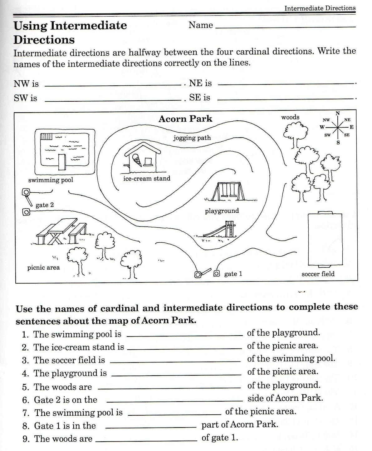 3 Cardinal Direction Map Skills Worksheet Christina Javier rchjelzea on  Pinterest   Map skills worksheets [ 1442 x 1192 Pixel ]
