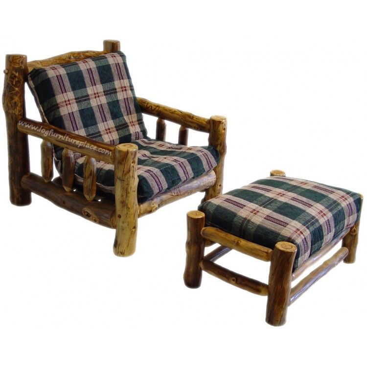 Beartooth Aspen Log Futon Chair And Ottoman
