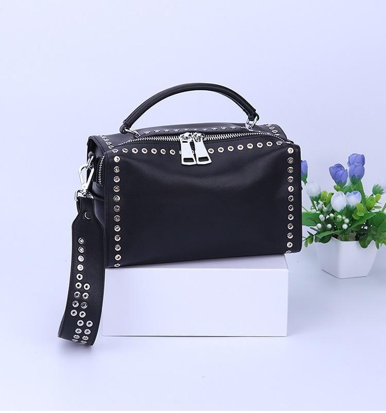 ea42a27d82 Women s NEW TREND Genuine Leather Shoulder Bag Box Bag With Rivets ...