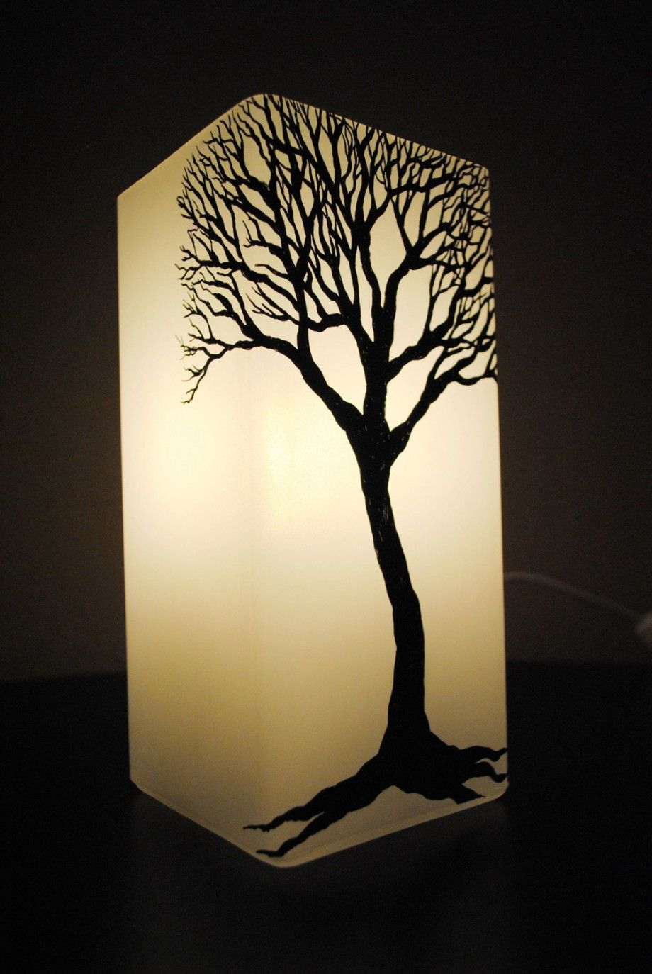Beautiful Winter Tree Silhouette Decorative Table Lamp   Unique .