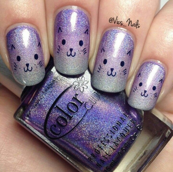 Cute Kitty Cat Nail Art Over A Color Club Holo Gradient Finger