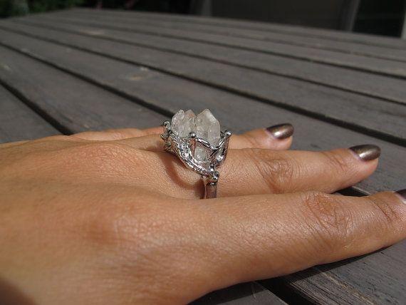 Diamants Herkimer bague  réglable blanc rhodié par Popins