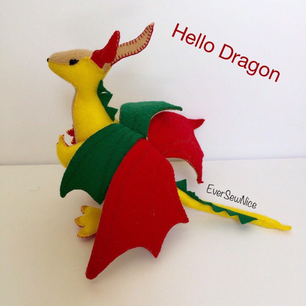 Handmade Felt Dragon - Felt Plushie - Felt Toy - Felt Dragon - Dragon Toy - Gift - Ornament - Toy Gift - Freestanding Dragon by EverSewNice on Etsy https://www.etsy.com/listing/271015516/handmade-felt-dragon-felt-plushie-felt