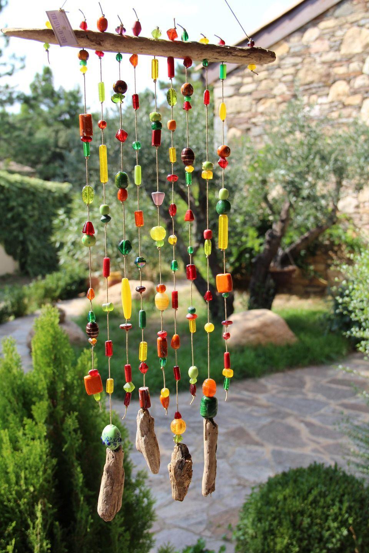 Mobile En Perles Multicolores Pour Exterieur Ou Interieur Avec