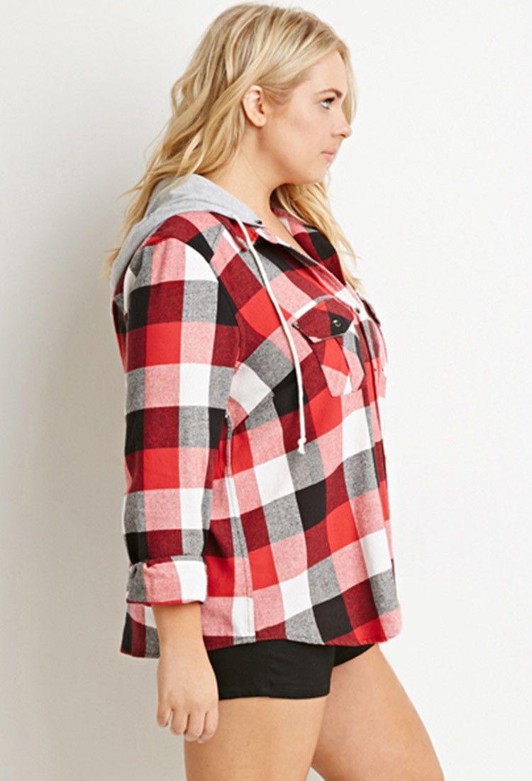 c873bd04809 Hooded Plaid Flannel Shirt