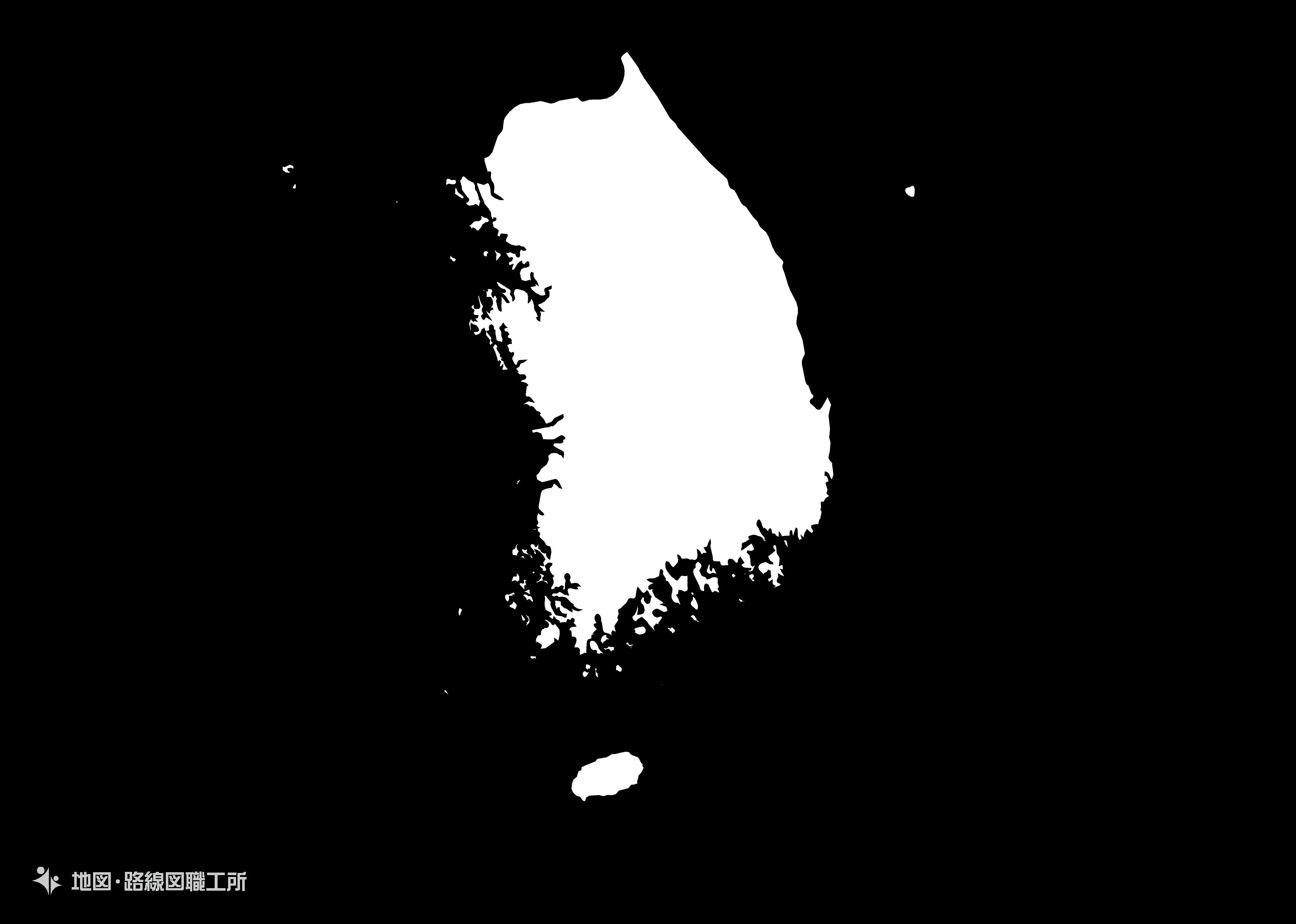 大韓民国 白地図のイラスト 白地図 ダウンロード 首都
