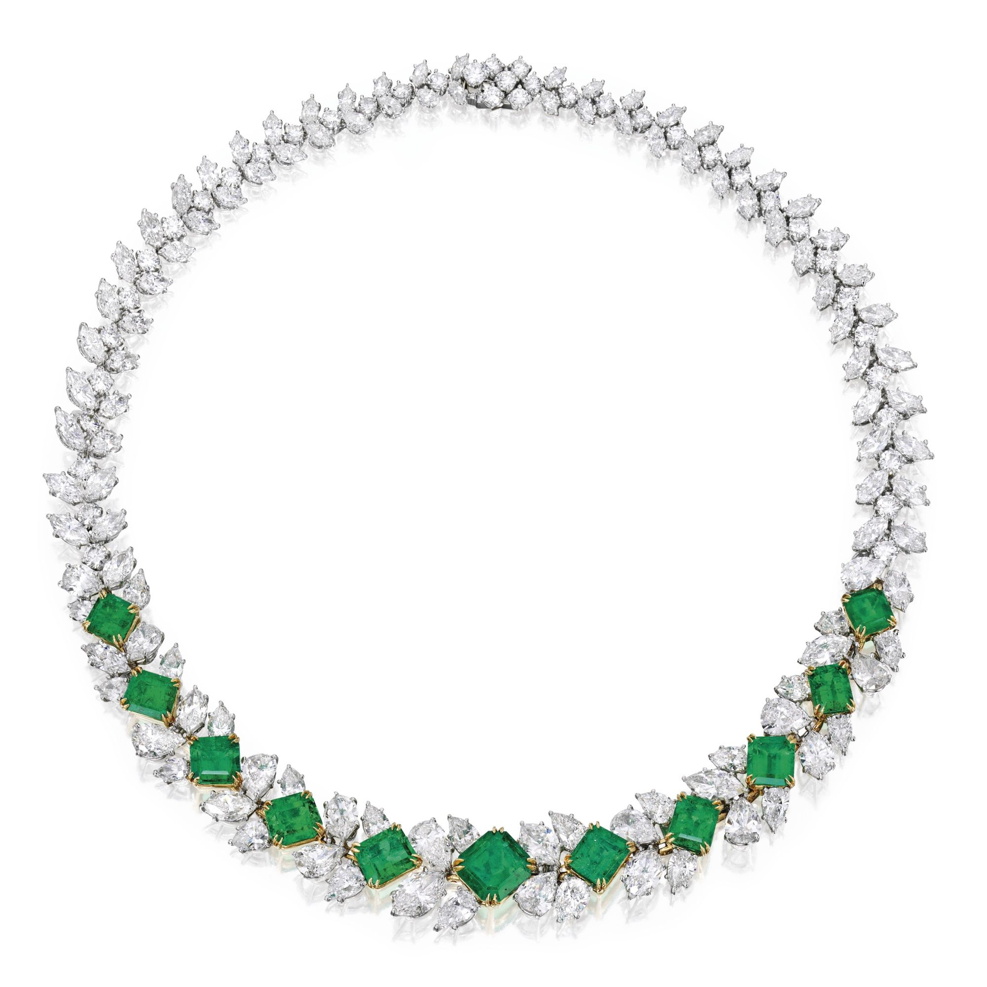 """Harry Winston Emerald Jewelry Necklace Set With 18/""""Chain In 14K White Gold Over"""