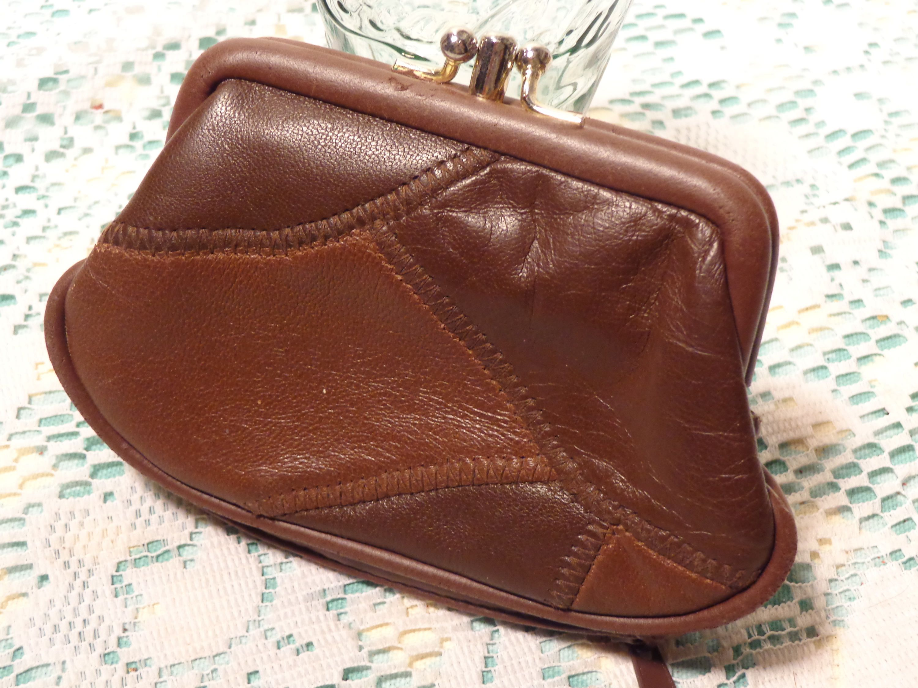 Vintage Brown Patchwork Leather Change Purse - Two Compartment