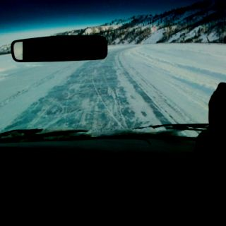 Riding the frozen Mackenzie River to Tuktoyaktuk, NT, Ca