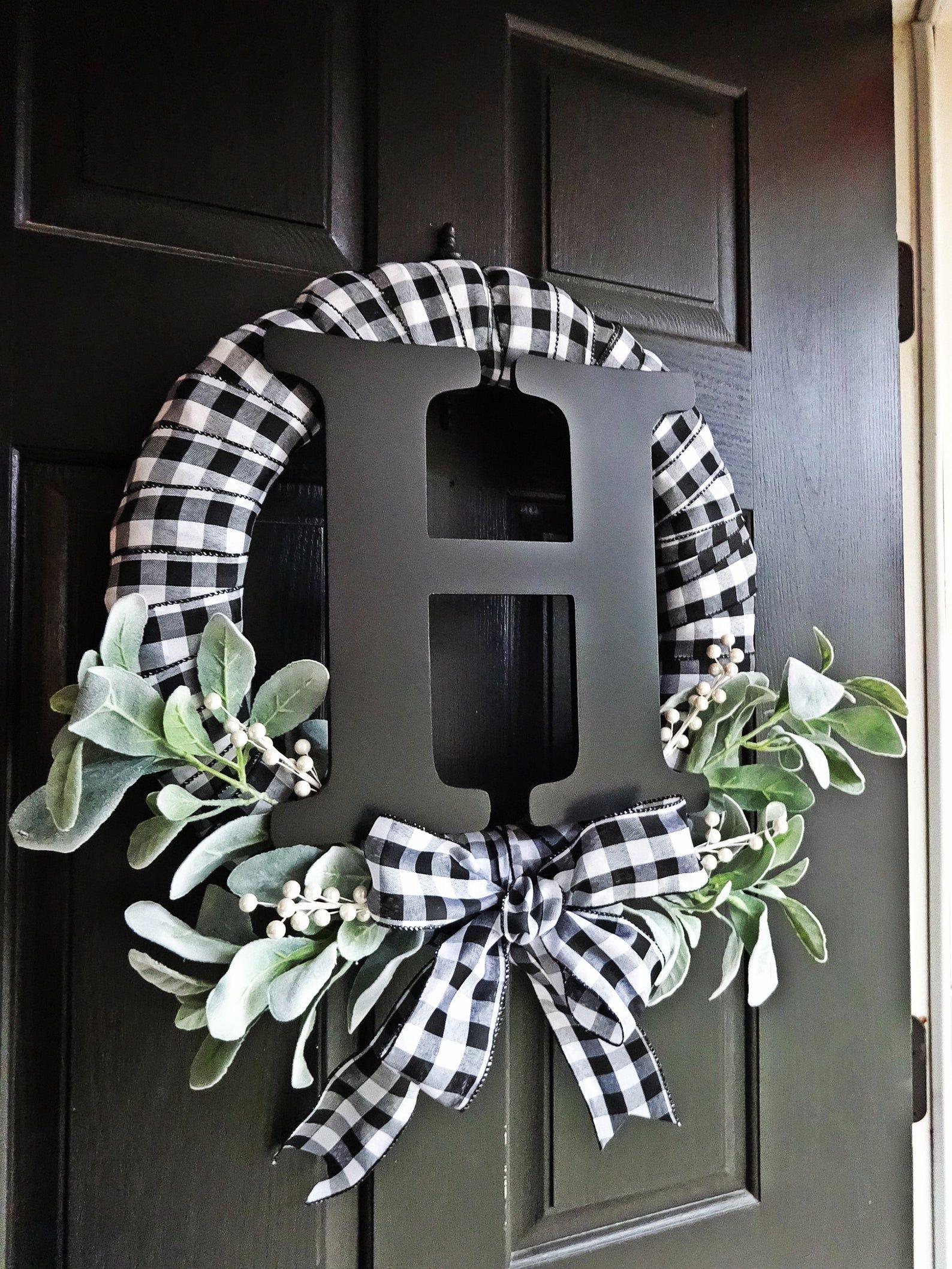 Photo of Buffalo Plaid Wreath, White and Black Wreath, Lambs Ear Wreath, Monogram, Winter Wreath, Everyday Wreath, Buffalo Check, Spring Wreath