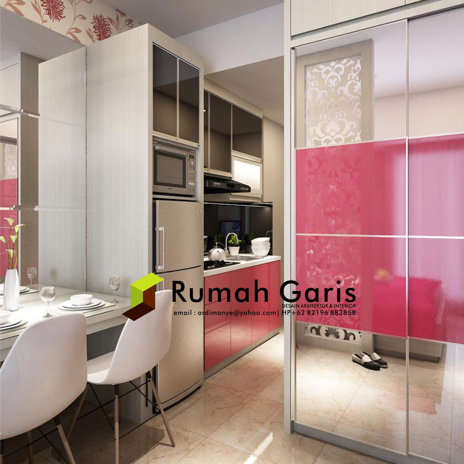 Desain Interior Kitchen Set Lemari Pakaian Apartemen Tipe Studio