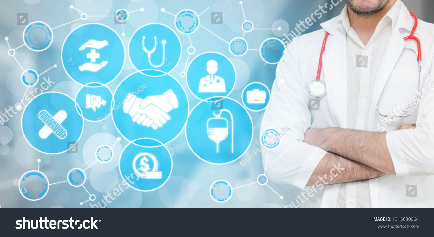 Medical Healthcare Concept Doctor In Hospital With Digital Medical Icons Graphic Banner Showing Symbol Of Medicine Medical Medical Icon Health Care Medical