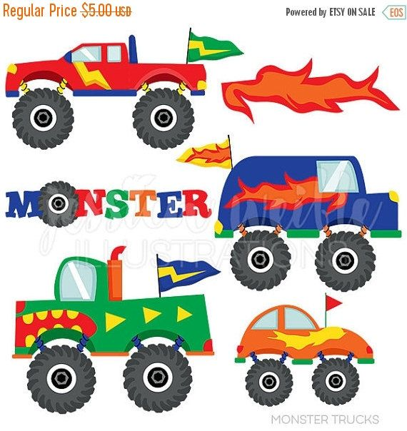 monster trucks cute digital clipart for commercial and personal use rh pinterest com free monster truck clipart images monster truck tire clipart