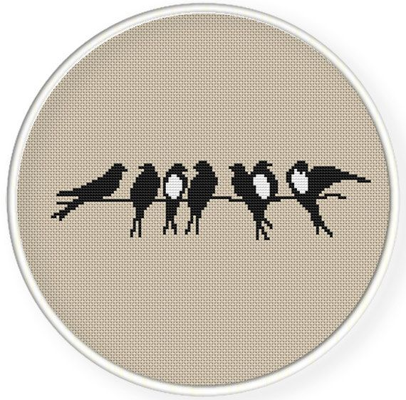 Photo of Instant download,Free shipping,Cross stitch , Crossstitch PDF/JPEG,vintage  swallows, friend ship,cross stitch pillow pattern,zxxc0538