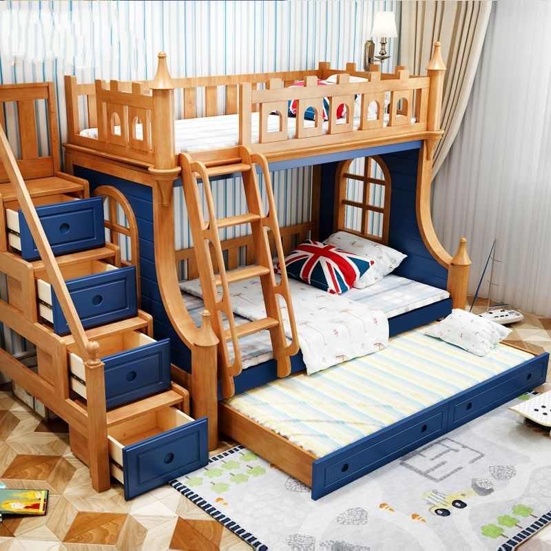 Best Made To Order Blue Luxury Triple Castle Top Bunk Bed With 400 x 300