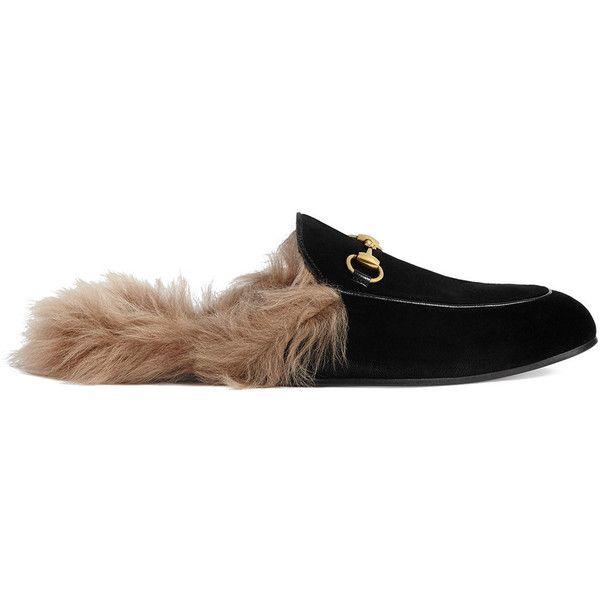 Latest Latest Gucci Black Princetown Velvet Slippers for Men Online Sale Outlet