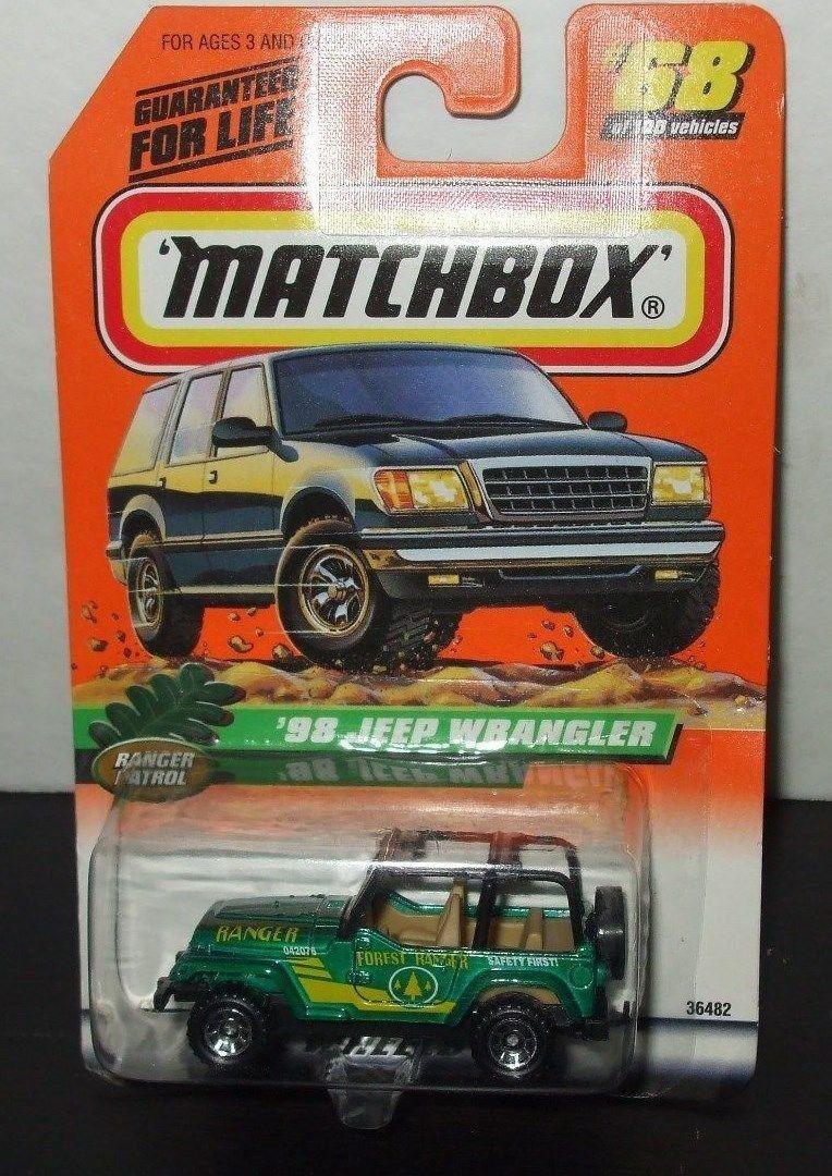 Matchbox ranger patrol series collectors 68 green 1998 jeep wrangler die cast matchbox