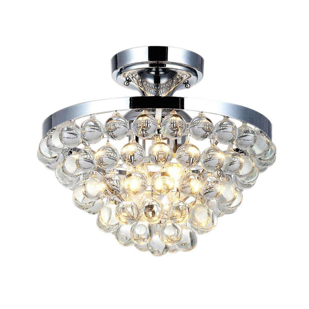 Home Decorators Collection 13 In 4 Light Chrome Semi Flush Mount With Clear Crystal Balls Shade 24429fm 15 Flush Mount Lighting Flush Mount Chandelier Ceiling Lights