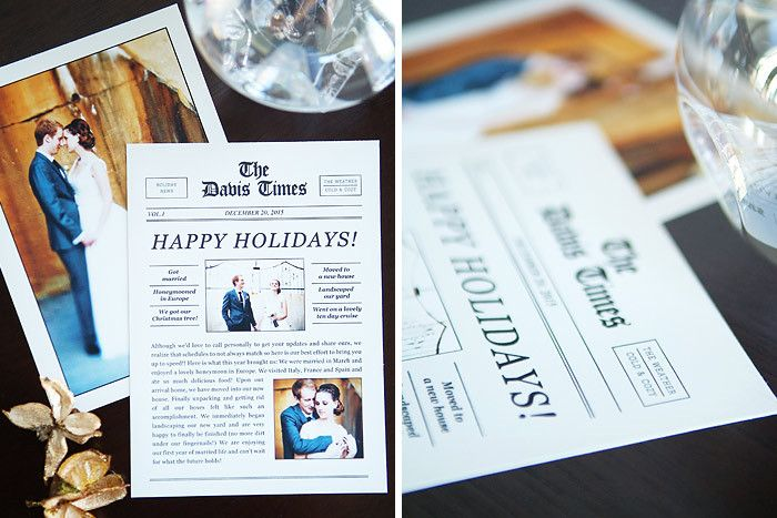 Holiday Newsletter Cards Holly Jolly News  Christmas Photo Card