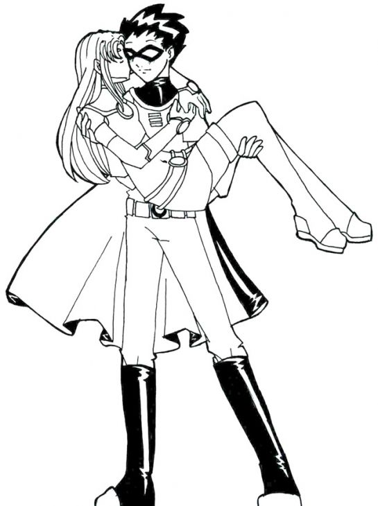 Robin And His Lover In Teen Titans Coloring Page | Superheroes ...