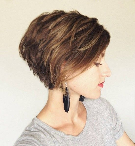 Messy Layered Short Bob Hair Cut Stacked Haircuts Bobs