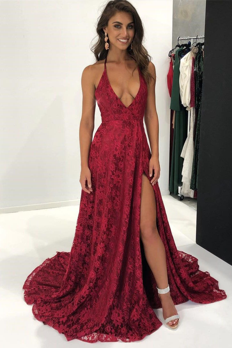 Sexy spaghetti straps aline red prom dressescheap prom dress