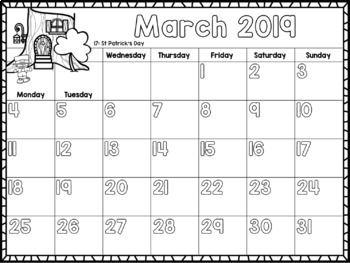 2019 Monthly Calendar For Kids Editable Free Updates Planners