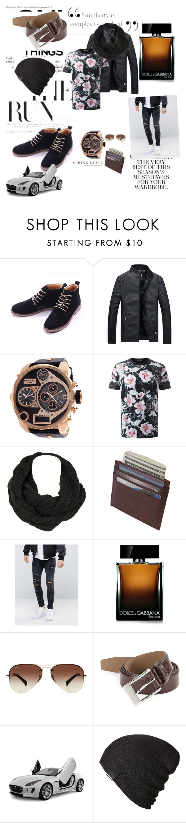 """""""Untitled #18"""" by belkisa-kahrimanovic ❤ liked on Polyvore featuring Folio, Diesel, ASOS, Dolce&Gabbana, Ray-Ban, HUGO, Dakine, men's fashion and menswear"""