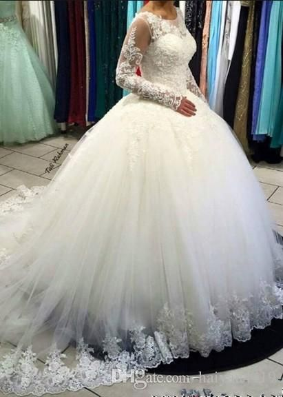 Ball Gown Lace Tulle Wedding Dresses Plus Size Scoop Neck Crystal Beads Bridal