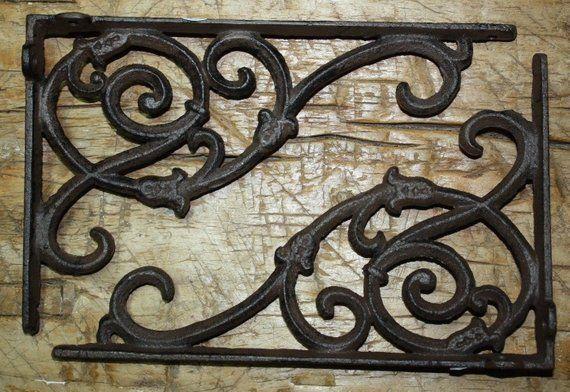 10 Cast Iron Antique Style LEAVES /& VINE Brackets Garden Braces Shelf Bracket