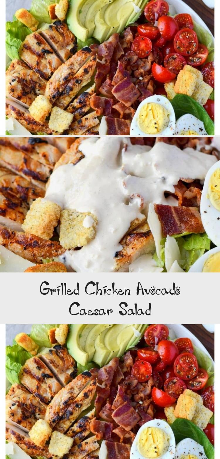 Chicken Avocado Caesar Salad is one of our favorites for a quick and easy meal. Grilled chicken, fresh avocado, crispy bacon, tomatoes and egg slices. Tossed in a homemade creamy Caesar dressing and topped with croutons and parmesan. #saladVegetarian #saladPommeDeTerre #Tunasalad #saladBuah #saladDressing