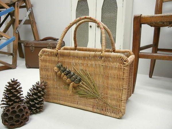 Pannier Basket イギリスアンティークショッピンフバスケットラフィア インテリア 雑貨 家具 Antique ¥5500yen 〆07月14日