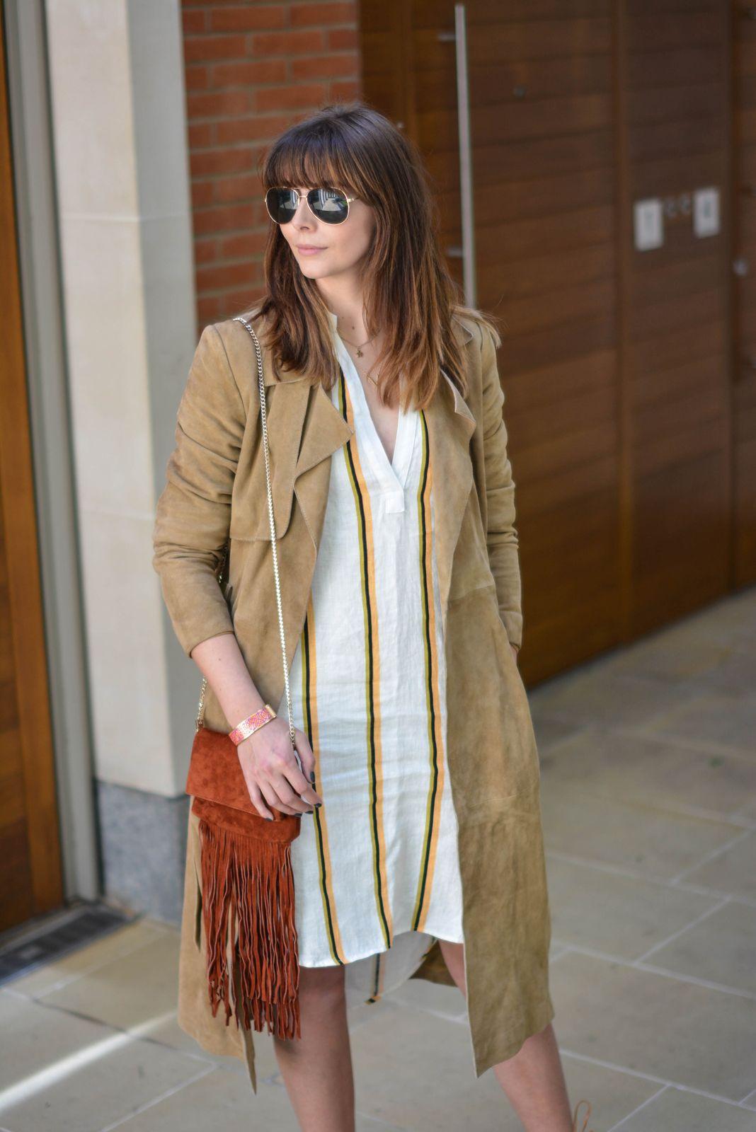 dbd3b2d172a EJSTYLE - Emma Hill wears H&M linen stripe shirt dress, Gestuz suede trench  coat, gold aviator sunglasses, Karen Millen suded fringe bag, ...
