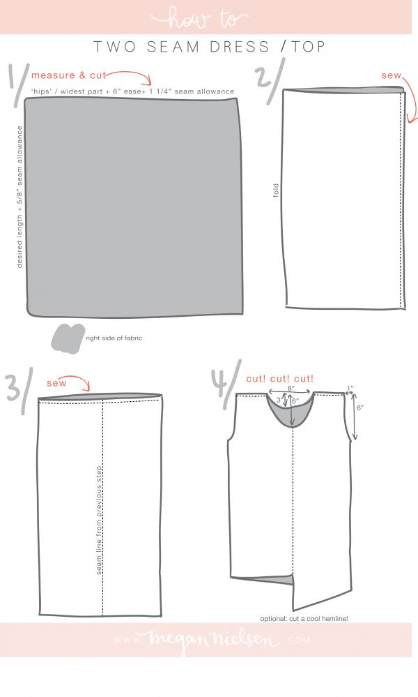 tutorial: the two seam dress | Costura, Patrones y Blusas sencillas