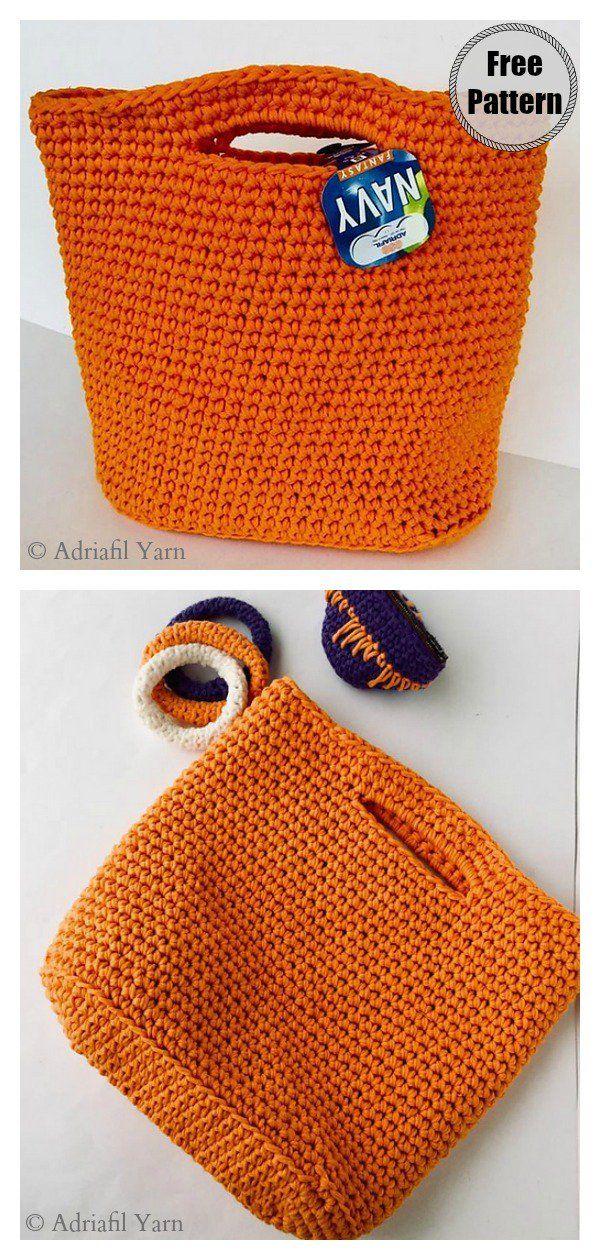 4 Classic Tote Bag Free Crochet Patterns #bagpatterns