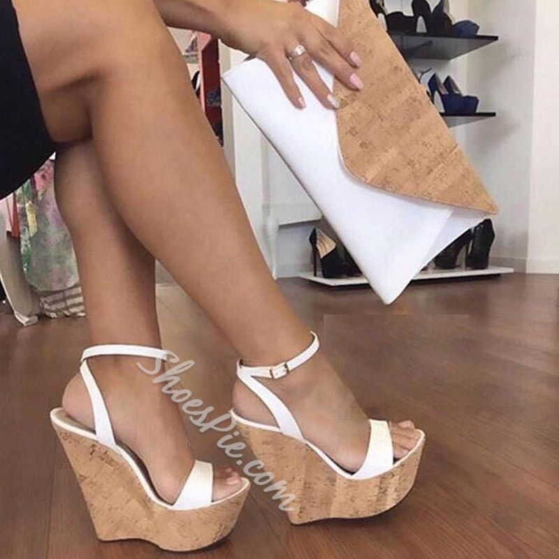 Ankle Strap Platform Line-Style Buckle White Wedge Sandals- Shoespie.com