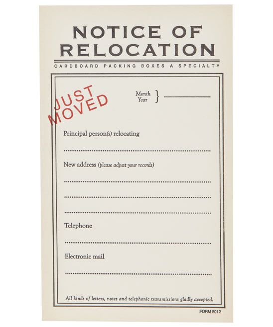 Novel Notice Of Relocation Note Cards Sure Beats Standard Change