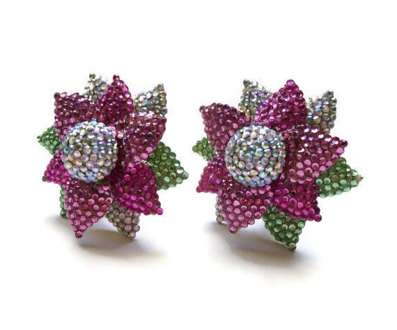 Jay Feinberg Rose Pink Pave Crystal Silvertone Clip-On Earrings