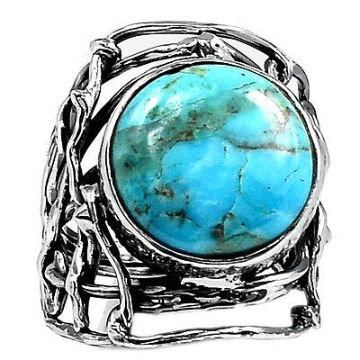 Blue-Turquoise-From-Arizona-925-Sterling-Silver-Ring-Jewelry-s-7-SR108766