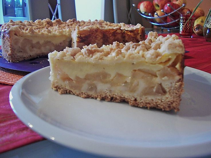 Leichter Apfelkuchen mit Vanillepudding und Streuseln #desserthummus