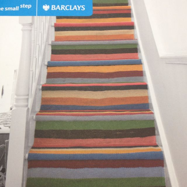 Wooden Stairs With Painted Stripes Updating Interior: Stair Carpet - Coloured Horizontal Stripes