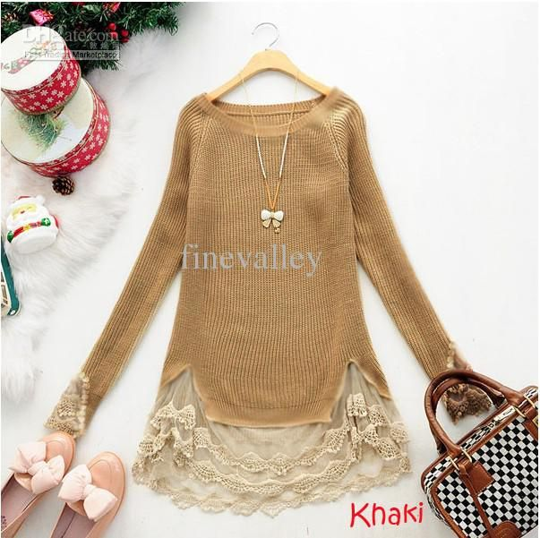 New Slim Vintage Lace Hem Sweater Stitching off Two Knitting Wool ...