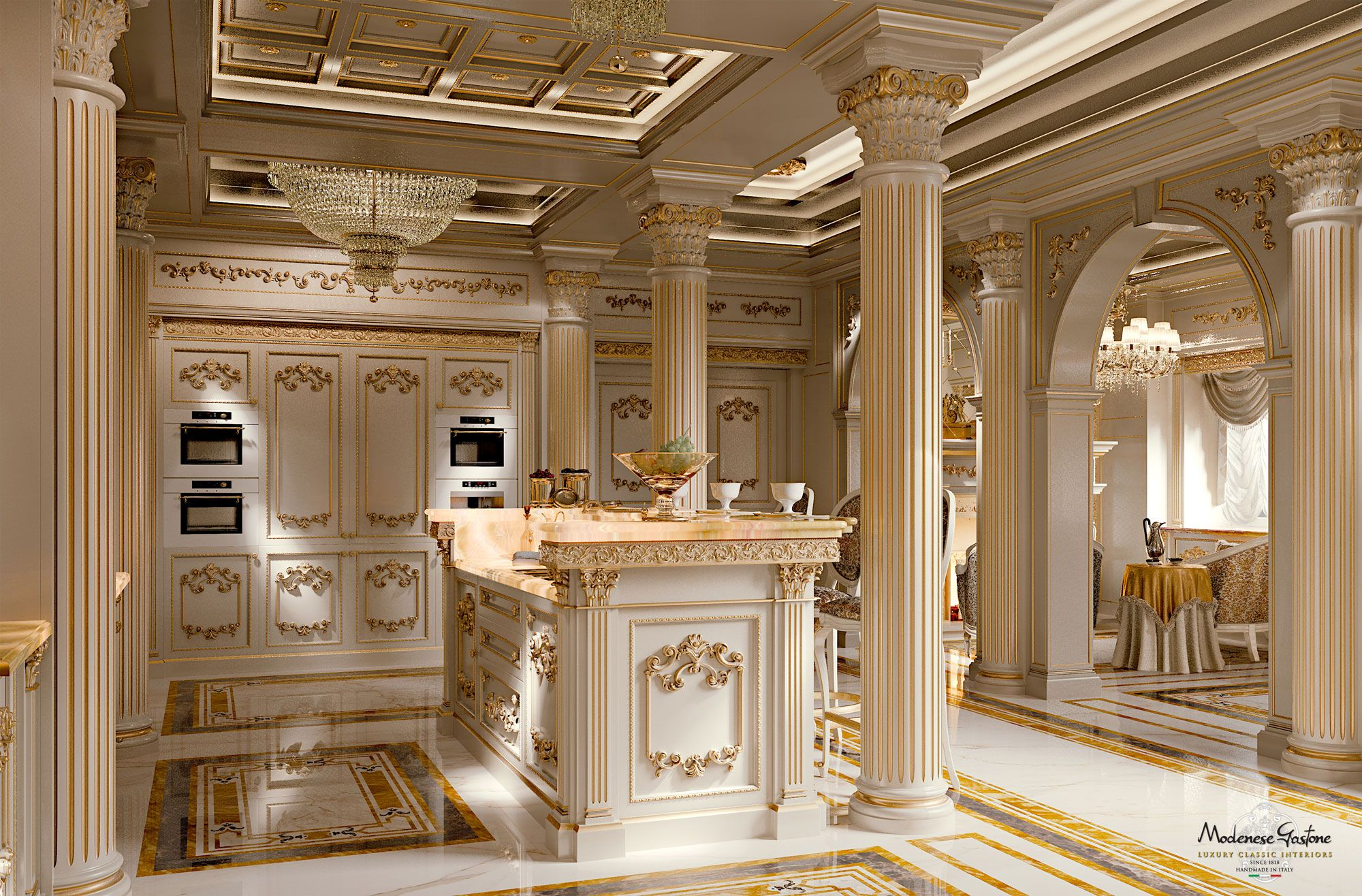 Imperial-kitchen-with-backlit-marble-Kitchen-King-ivory-version ...