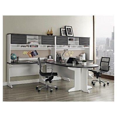 ameriwood home pursuit executive desk white/gray