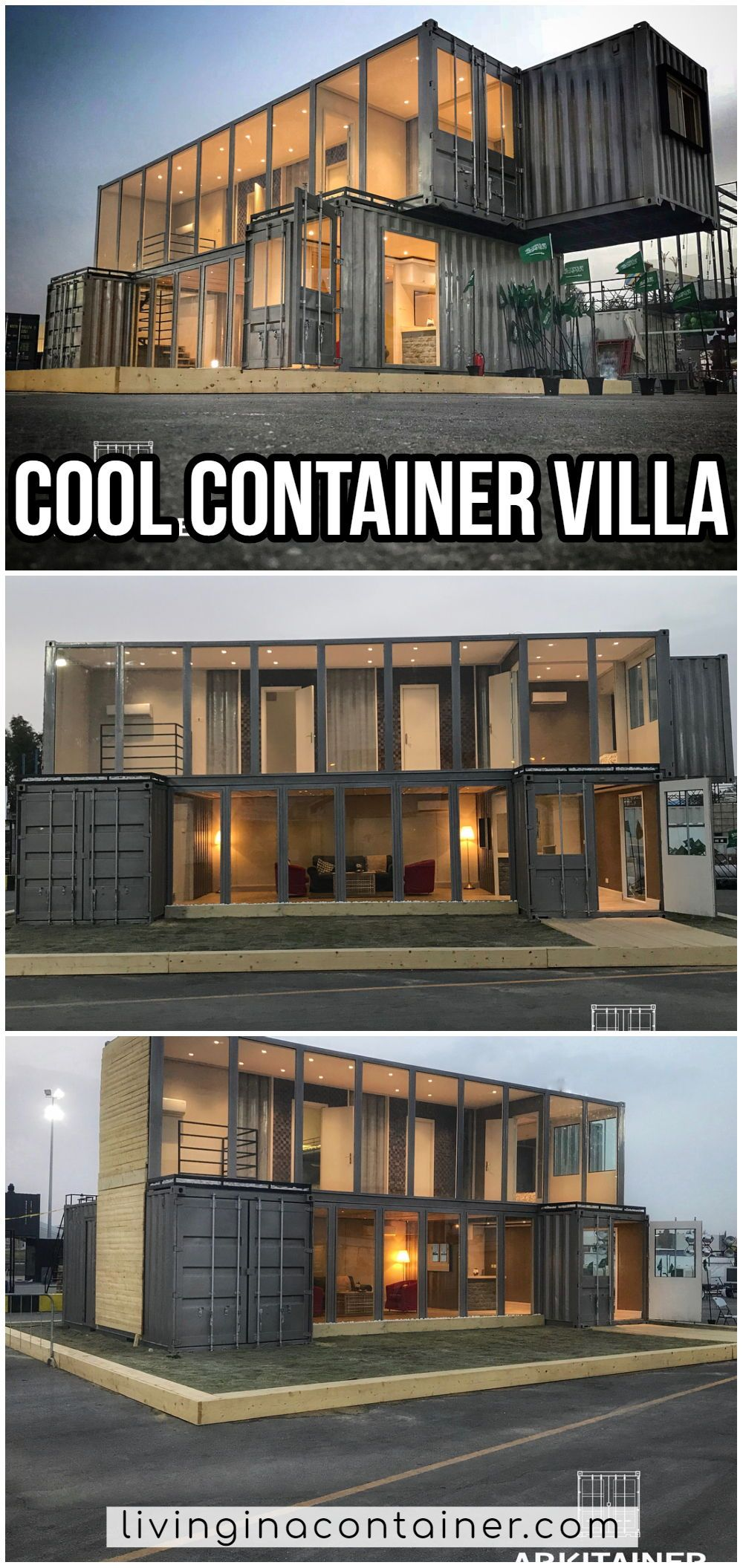 Cool Container Villa for Black Color Lovers - Living in a Container