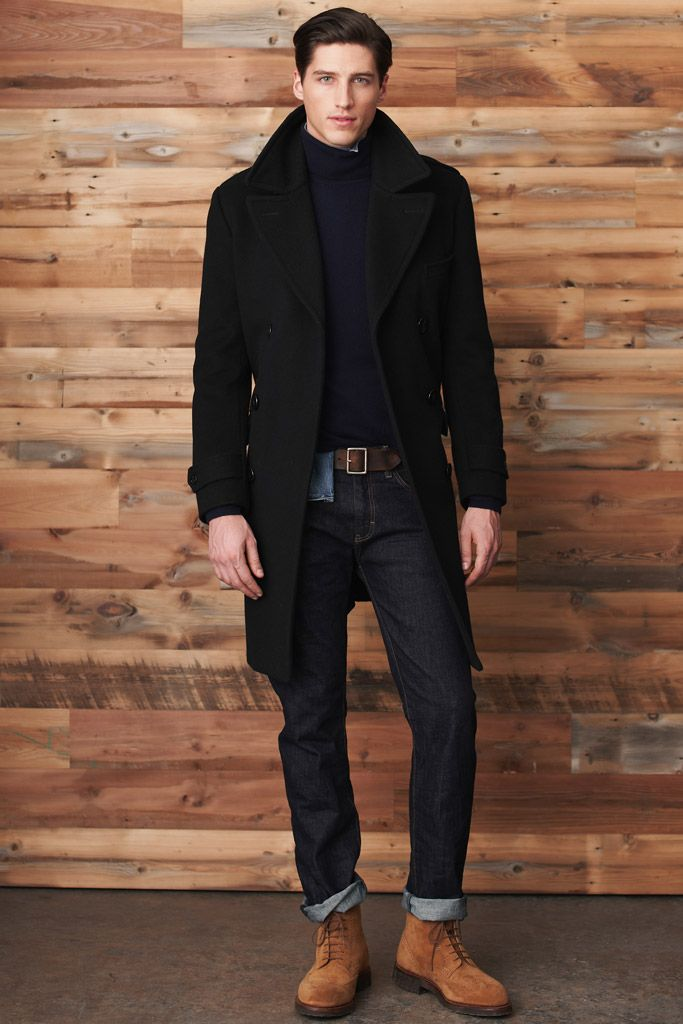 Fall / Winter - casual style - street style - layers - black long coat + navy turtleneck sweater + denim shirt + dark denim jeans + dark brown belt + brown suede chukka boots