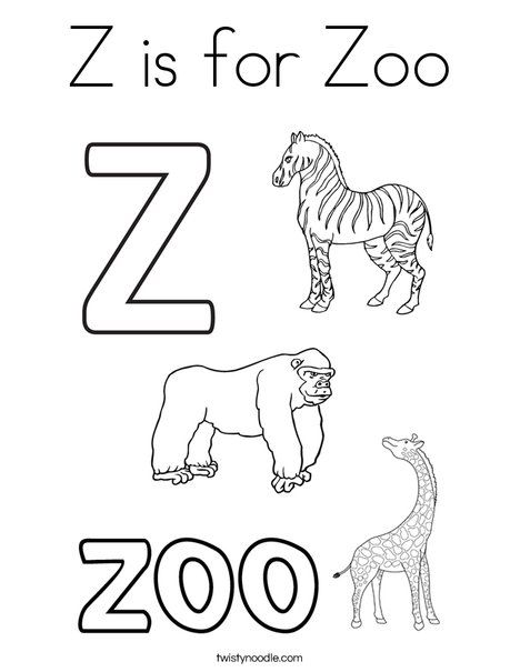 Z is for Zoo Coloring Page - Twisty Noodle | Letter ...