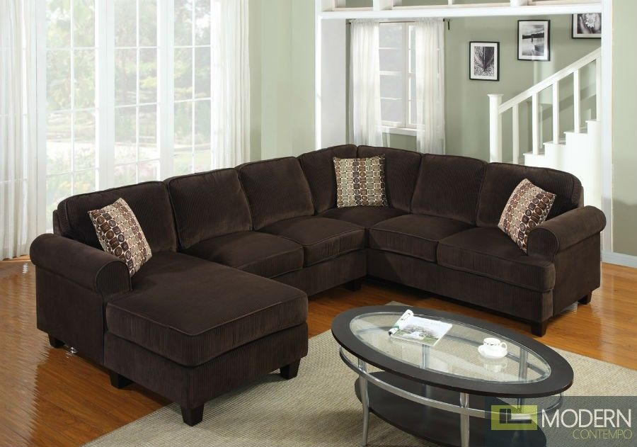 3 Pc Modern Brown Corduroy Sectional Sofa Living Room Set TBQS727P3 : corduroy sectional - Sectionals, Sofas & Couches